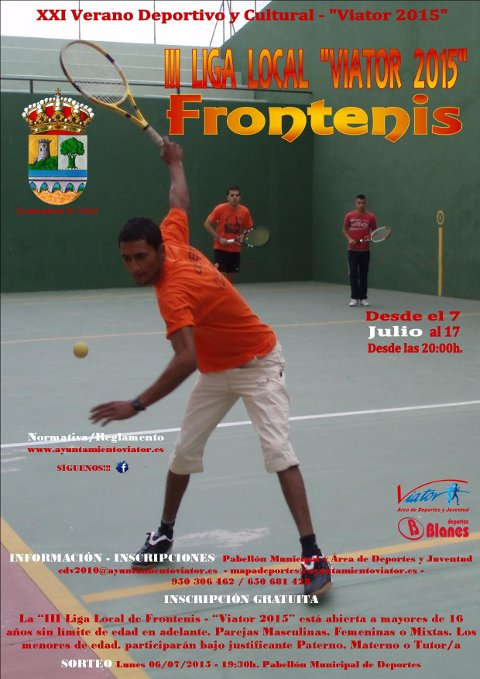 Cartel III LIGA LOCAL DE FRONTENIS VIATOR 2015